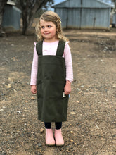Load image into Gallery viewer, Kids' Pinafore Apron in Forest Green/Navy