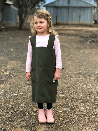 Kids' Pinafore Apron in Forest Green/Navy