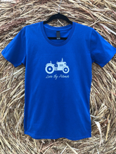 Load image into Gallery viewer, Ladies' Short Sleeve Tractor T-Shirt in Red/Royal Blue with Sand Printing