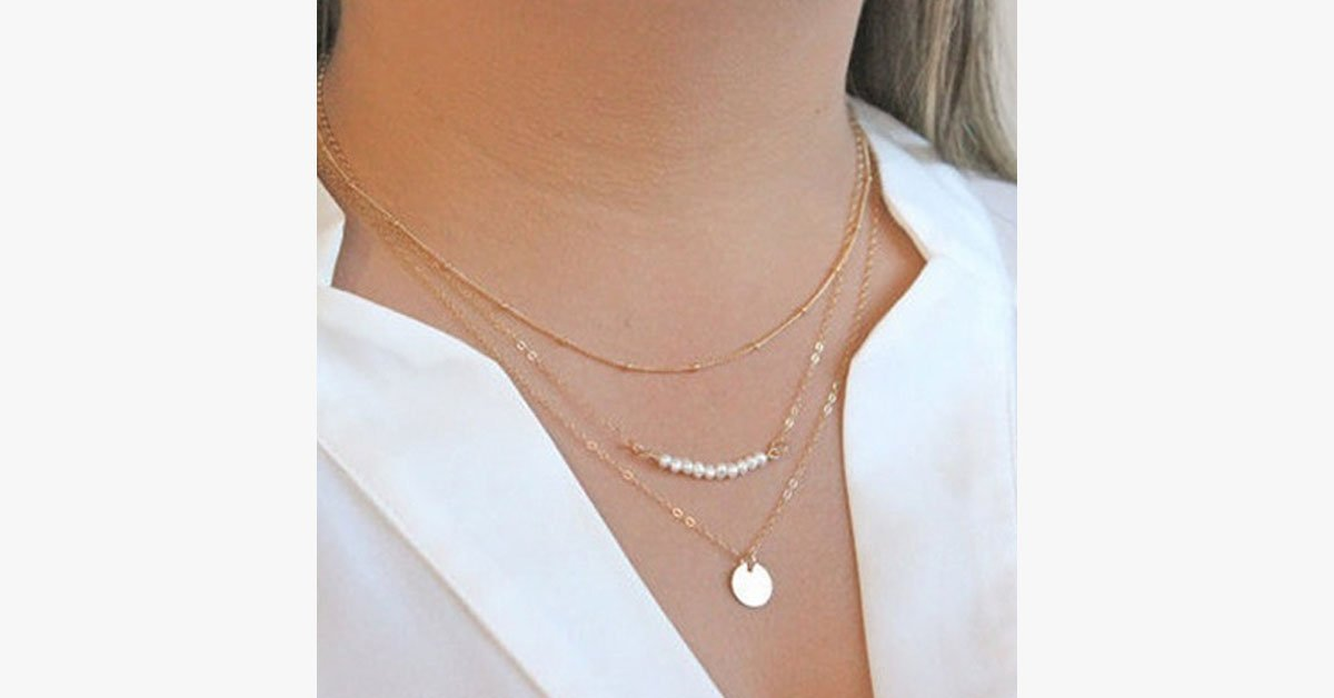 Three Layer Pearl Circle Necklace