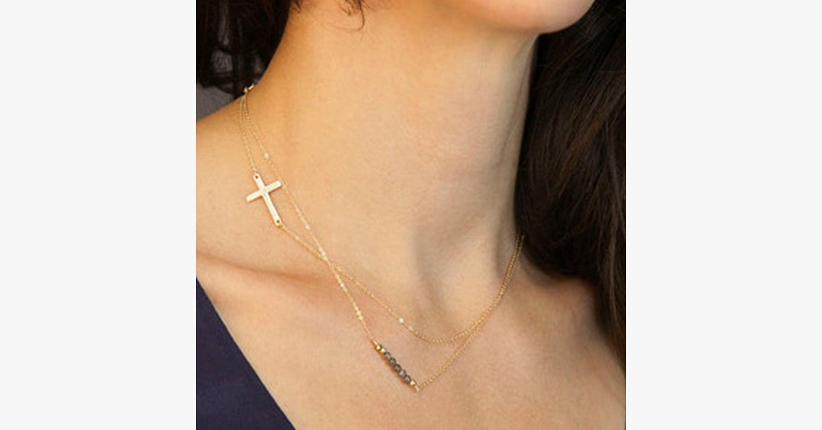 Two Layer Crystal Cross Necklace