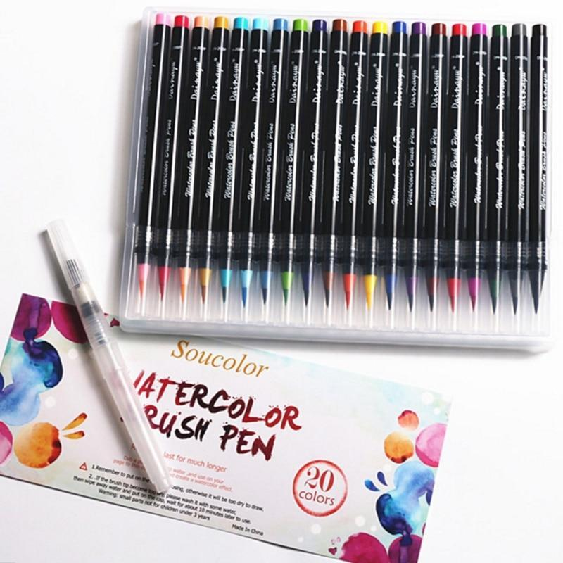 20 Colors Watercolor Soft Brush Calligraphy Pen