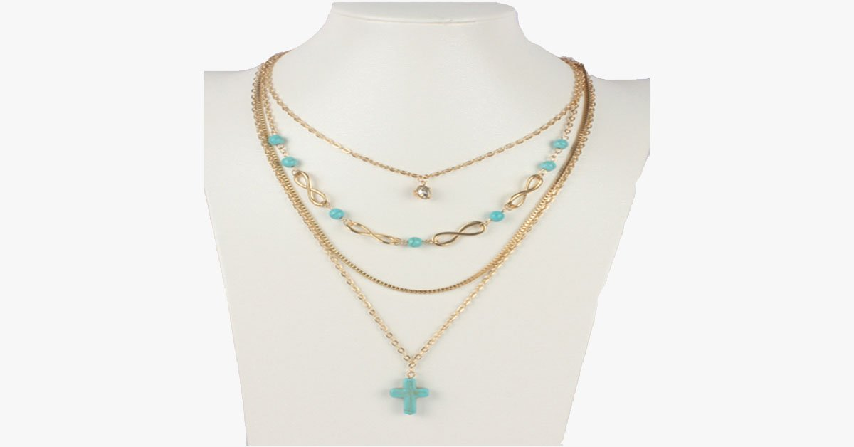 Turquoise Cross Chic Necklace