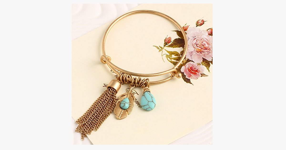 Vintage Turquoise Tassel Bangle 14K Gold Plated