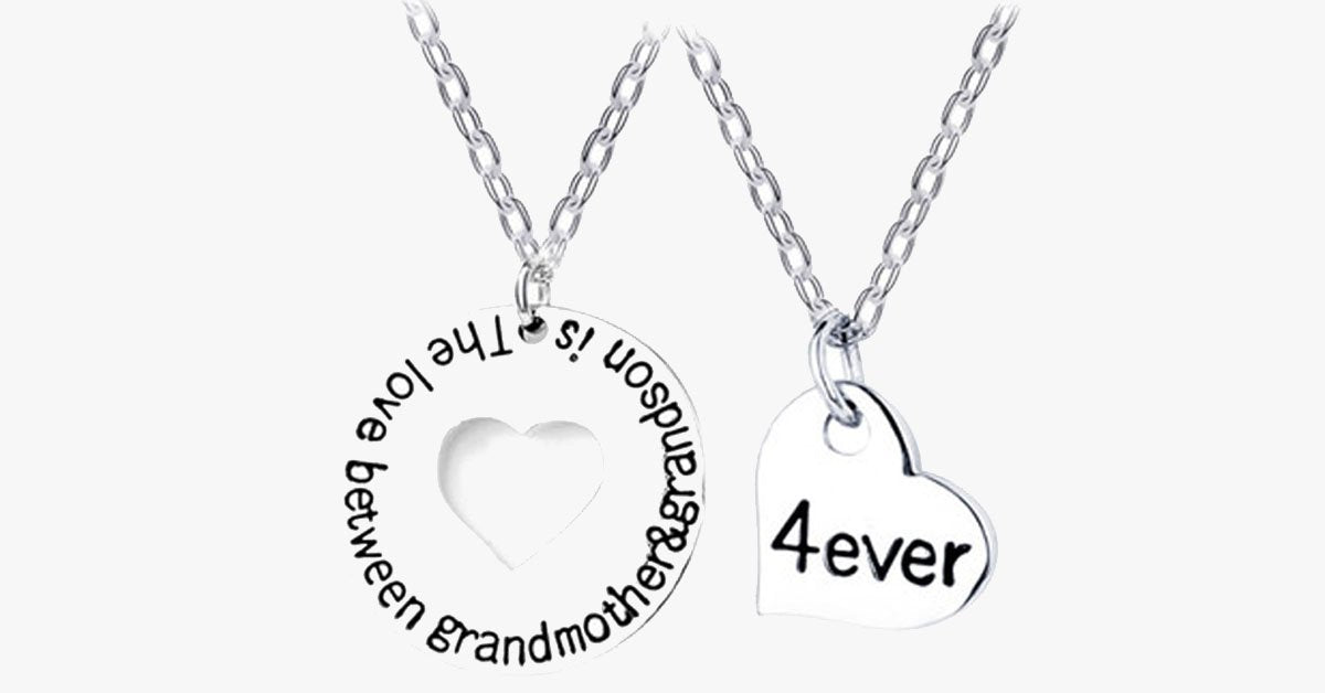 The Love Between Grandmother & Grandson Is 4ever Necklace Set