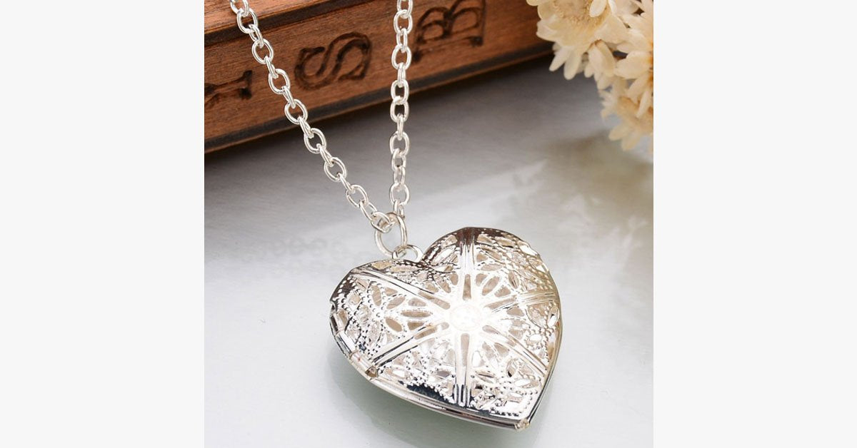 Valentine's Love Pendant Necklace - Intricately Designed with Floral Detailing and Has a Motif Locket Cover