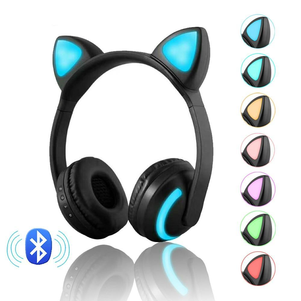 Wireless Cat Headphones With LED Gaming
