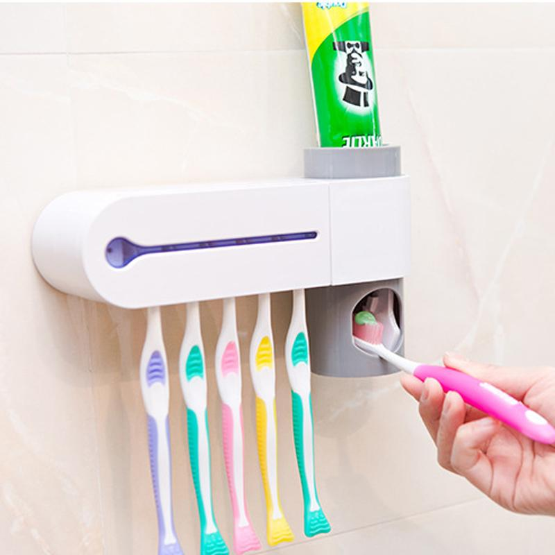 2 In 1 UV Toothbrush Sterilizer Toothbrush Holder Automatic Toothpaste Dispen/_sh