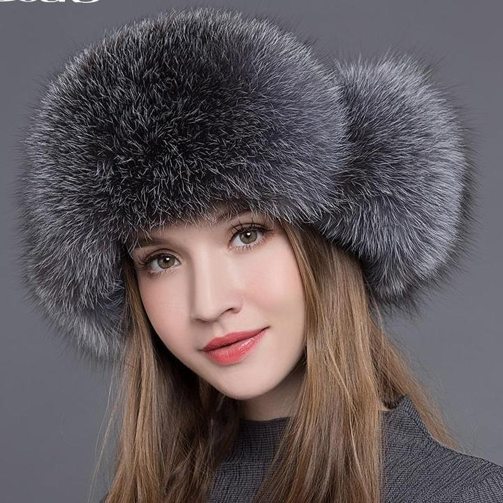 New Arrival Women Natural Raccoon Fox Fur Winter Thick Warm Bomber Hat