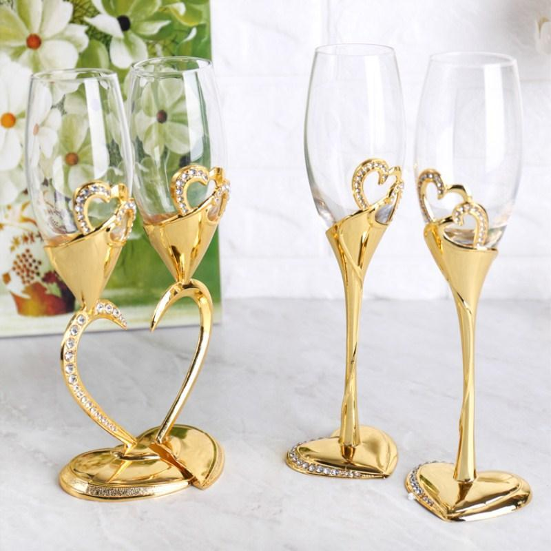 Gold Silver Heart-shaped Crystal Wine Glass