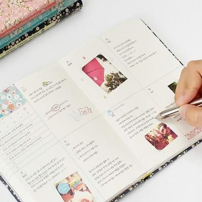 New Arrival Cute PU Leather Floral Flower Schedule Planner Notebook
