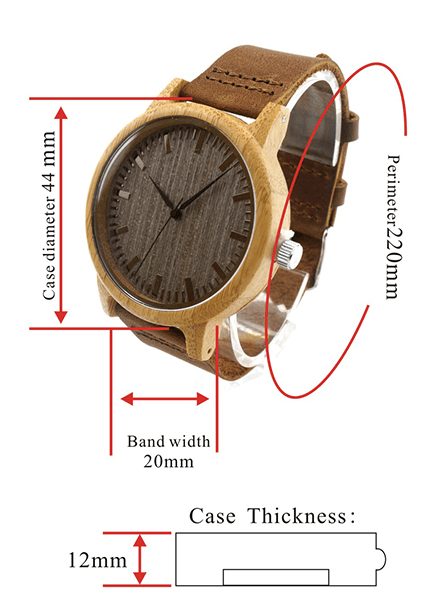 Vintage Round Bamboo Wooden Quartz Watch With Leather Bands