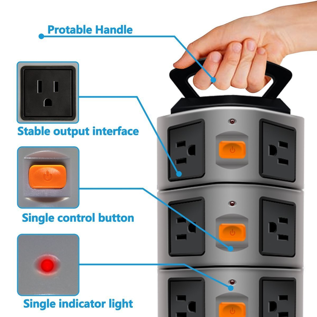 USB Power Strip Protector Electric Charge Station Plugs Socket 4 USB Slot Extension Cord