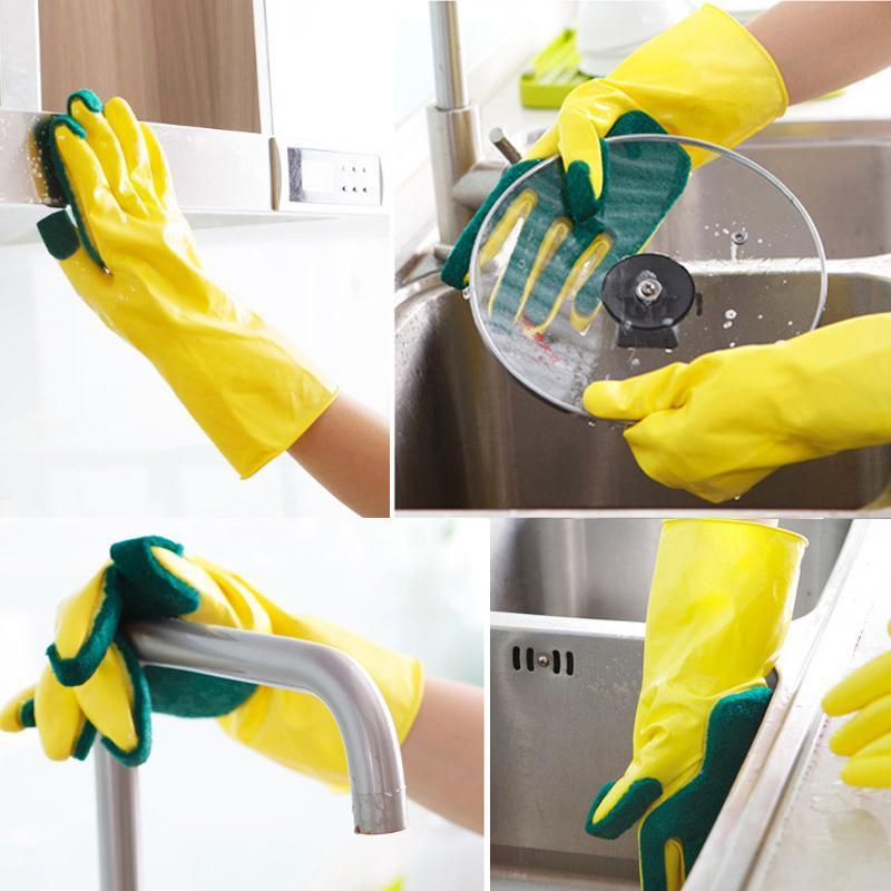 Scrub Dishwashing Gloves