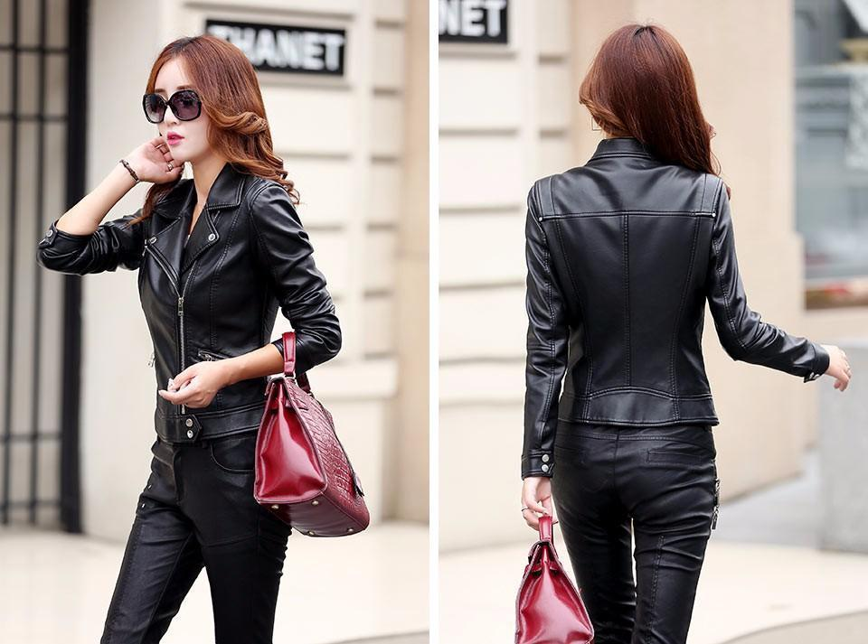 Pinky Is Black Fashion 2018 Women Leather Coat