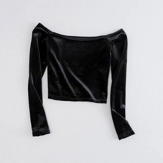 Soft Velvet Long Sleeved Crop Tops