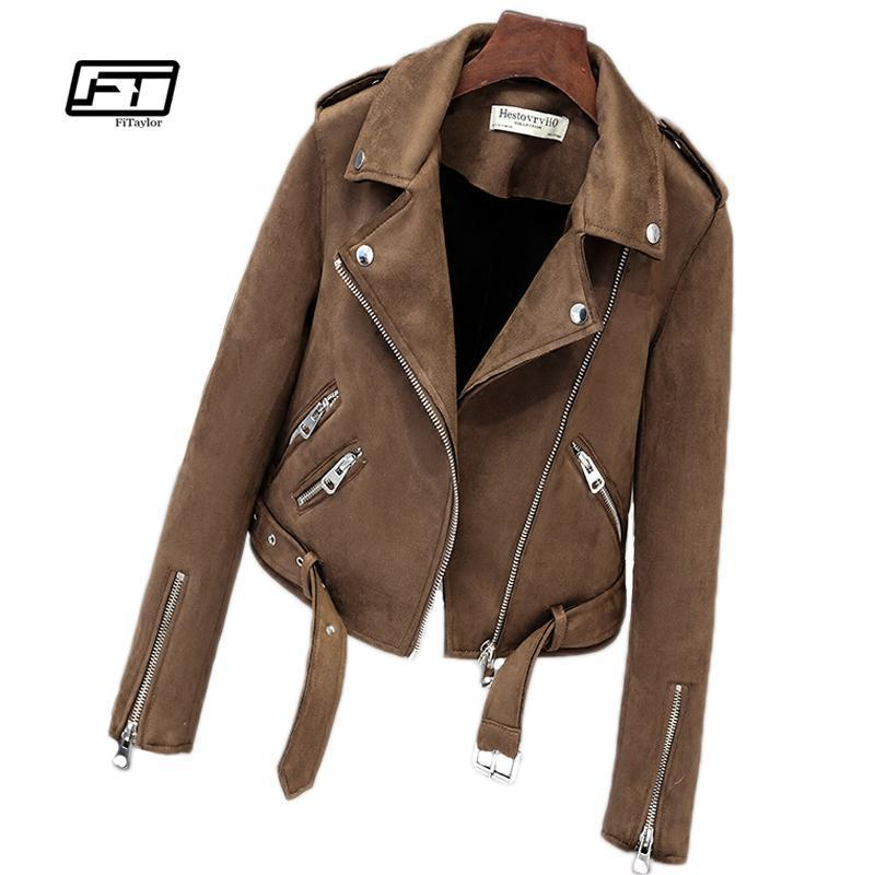 Faux Suede Womens Motorcycle Leather Jacket
