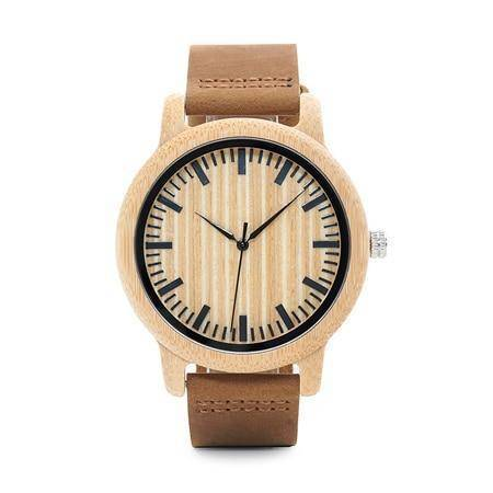 Mens Bamboo Wood Wooden Watch, Quartz Watches With Leather Straps and Gift Box
