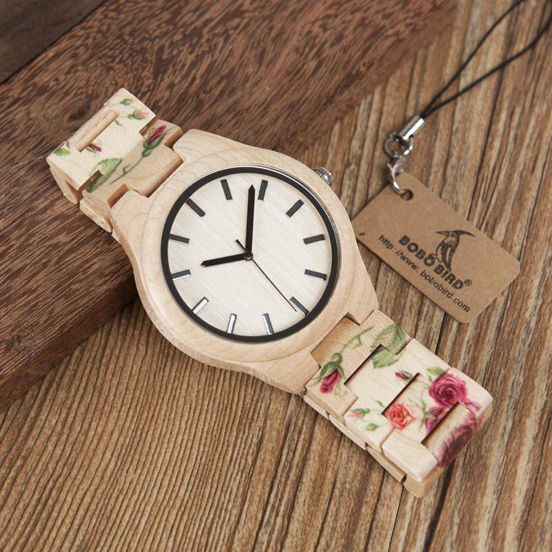 Pine Watch With Floral Wooden Strap - Flower Wood Band