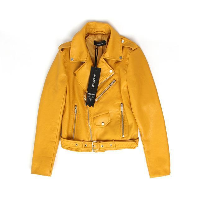 Short Washed PU Leather Jacket