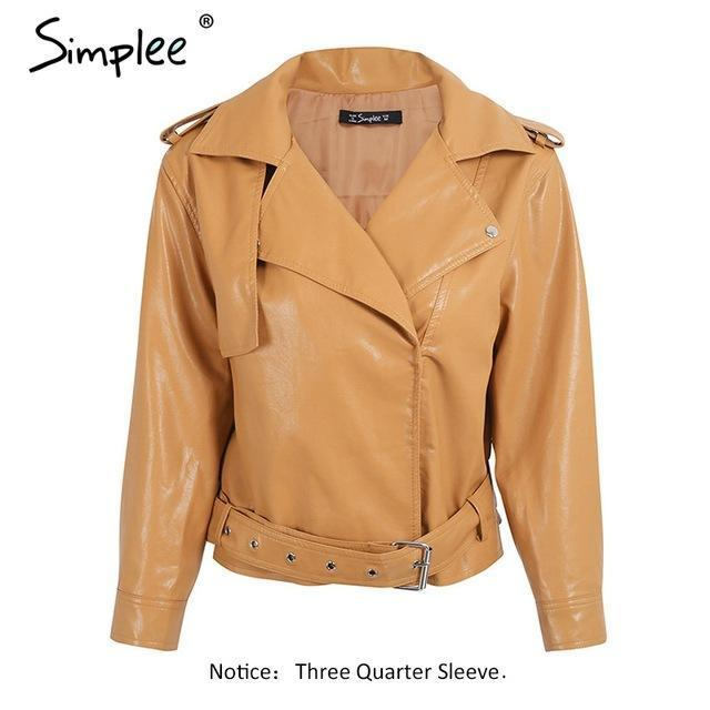 Faux Leather Coat Fashion yellow three quarter sleeve