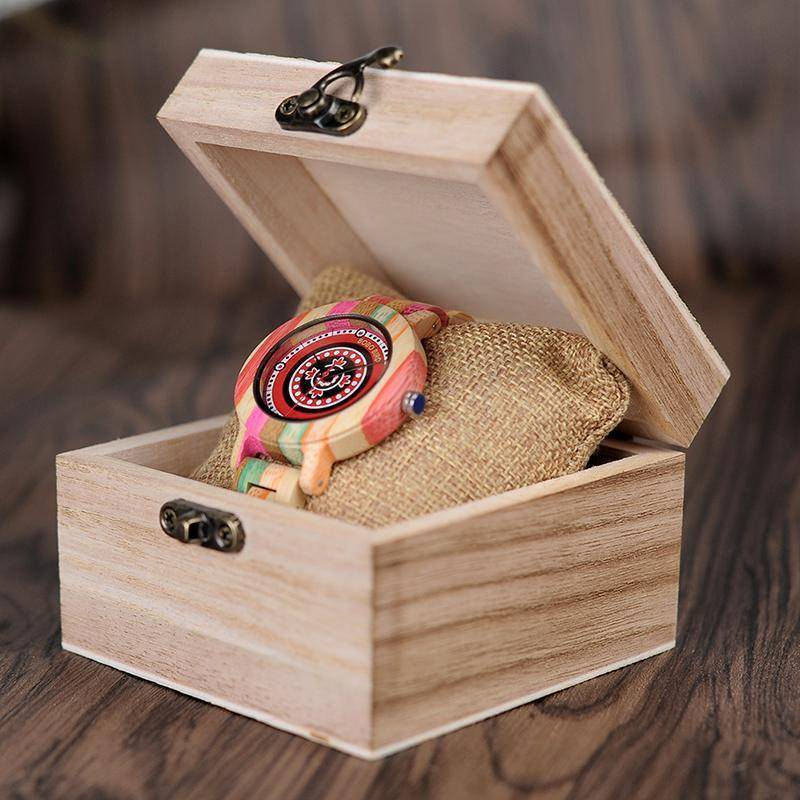Colorful Bamboo Wood Watch for Women - Wooden Band - In Gift Box