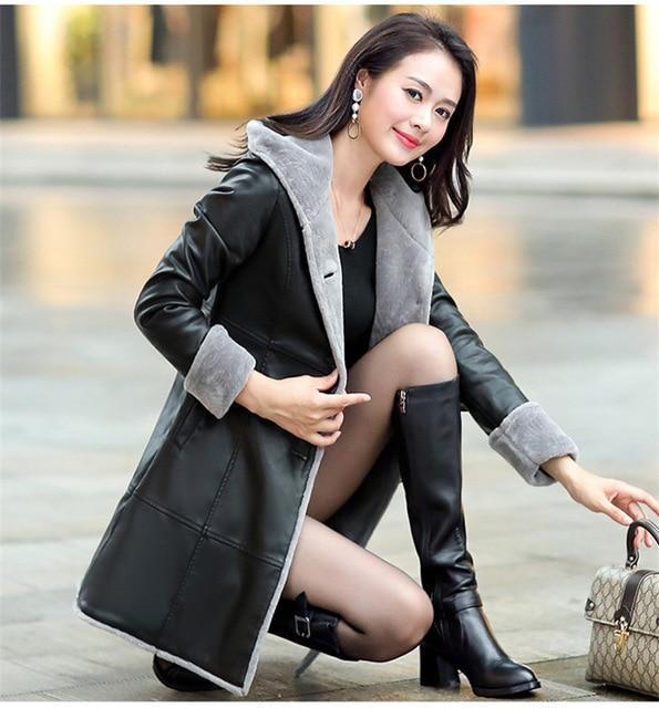 Boutique Women leather jacket Fur Together coats