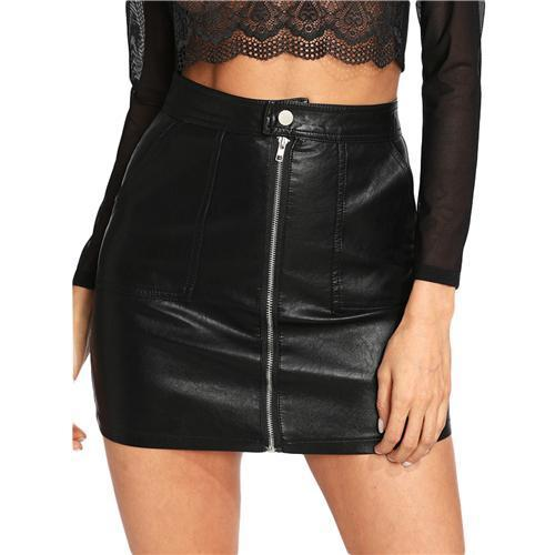 COLROVIE 2018 Plain Faux Mini Black Leather Skirt