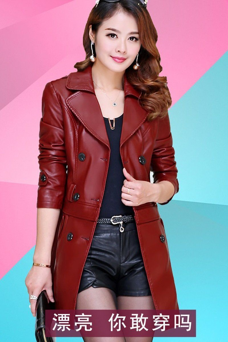 Korean Long Section sheep leather coat
