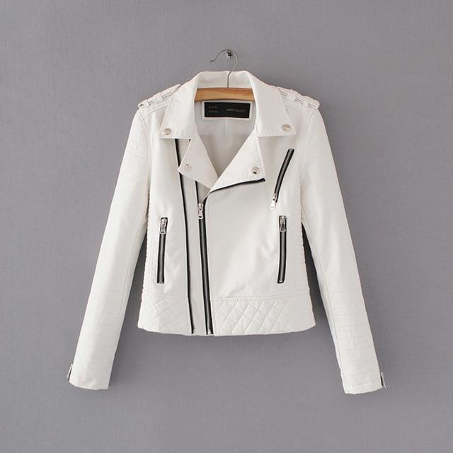2018 Soft Zipper Faux Leather Jackets