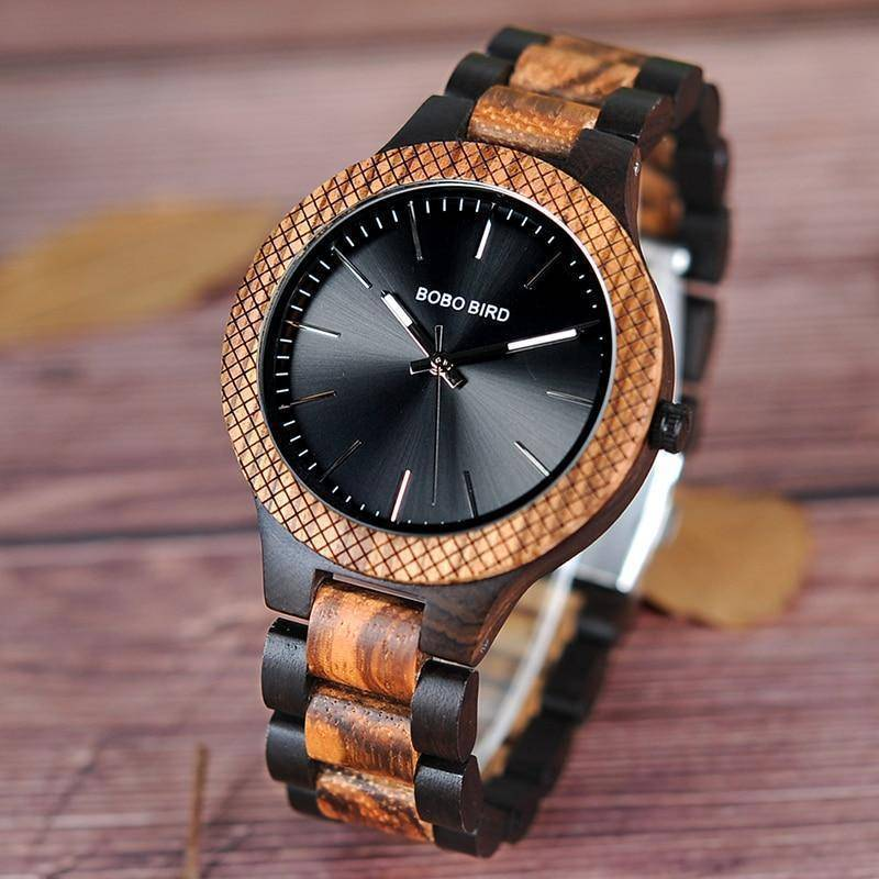 Wood Watch Quartz Mens Watches with Luminous Hands in Wooden Gift Box