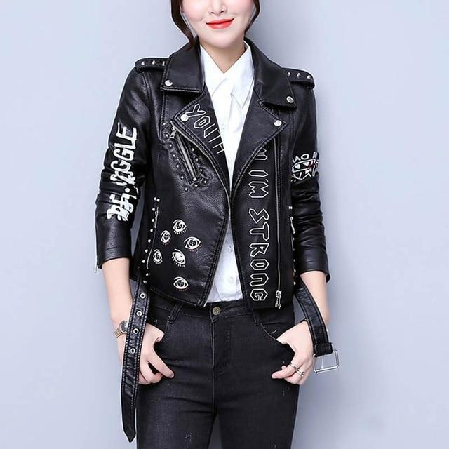 Printed Letters Rivet Faux Leather Jacket