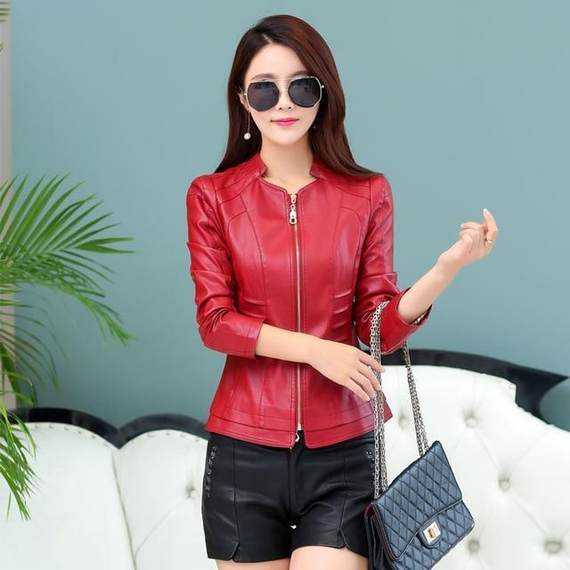2018 Casual Long Sleeve Leather Jacket