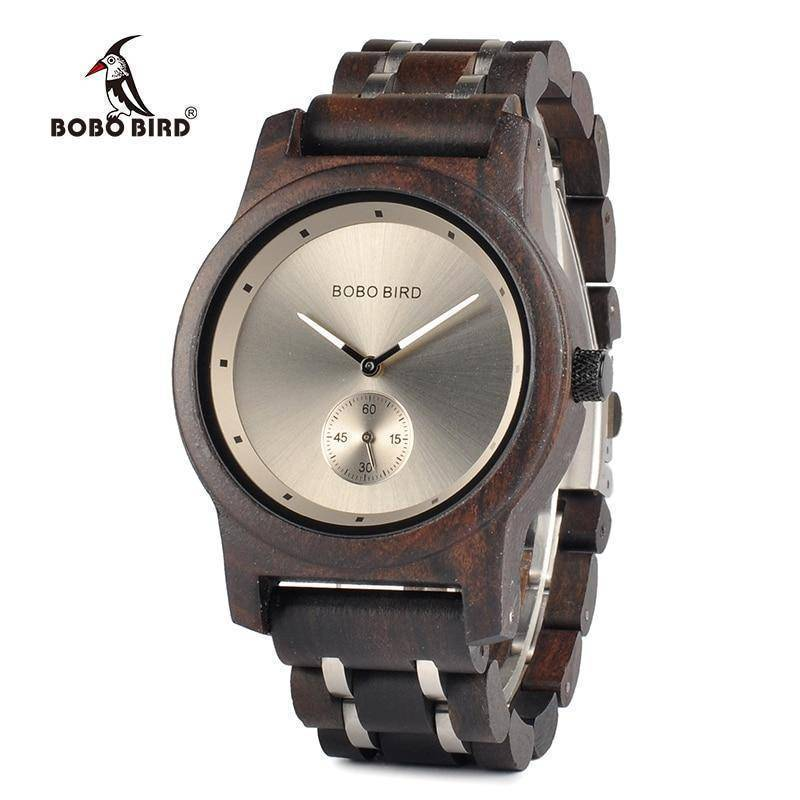 Wood and Metal Strap Watch, Quartz Watch in Wood Box
