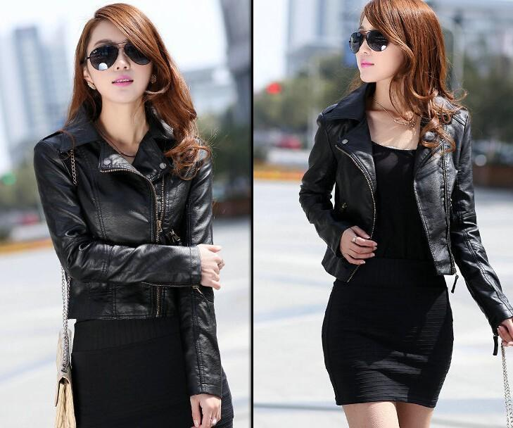 New Spring Women Leather Jacket Red Black