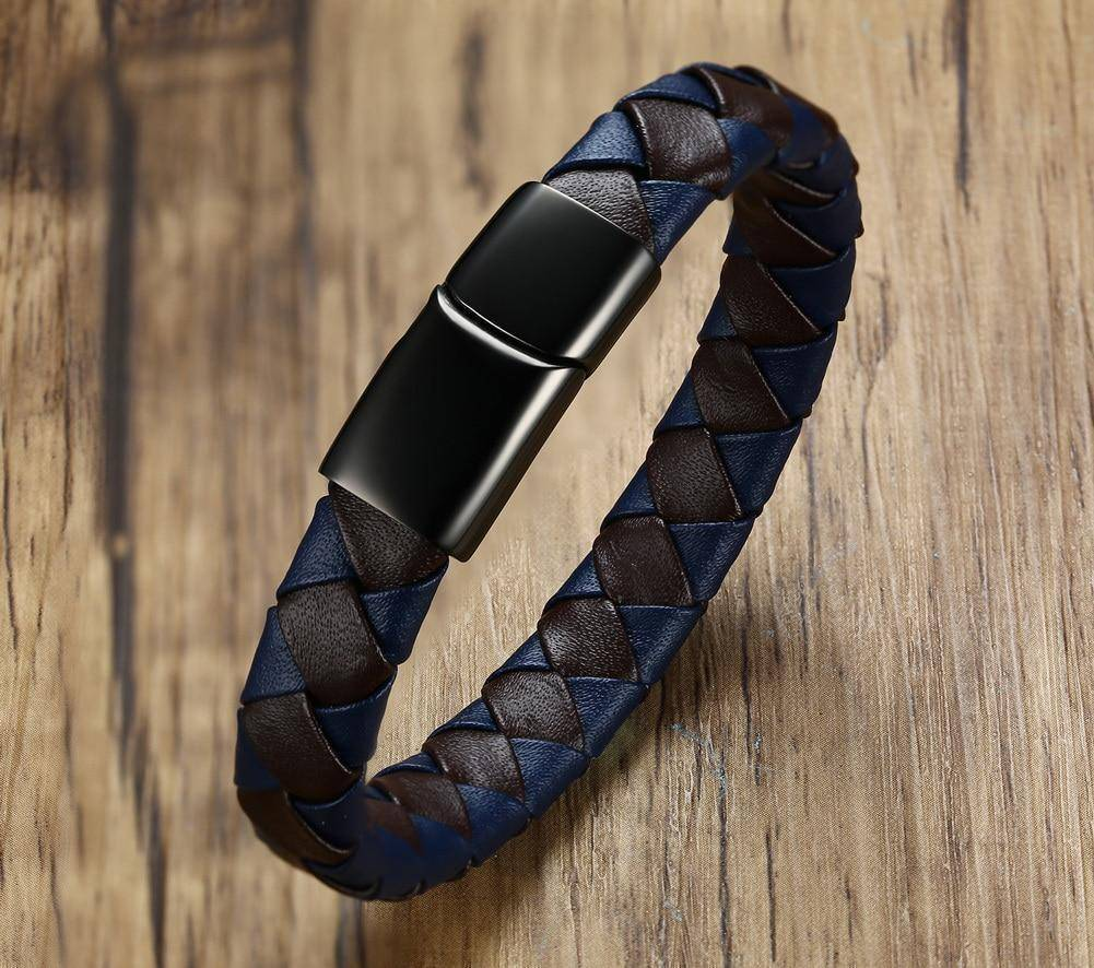 Men's Diabetic Medical Alert Bracelet - Genuine Leather for Diabetes Type 1 and Diabetes Type 2