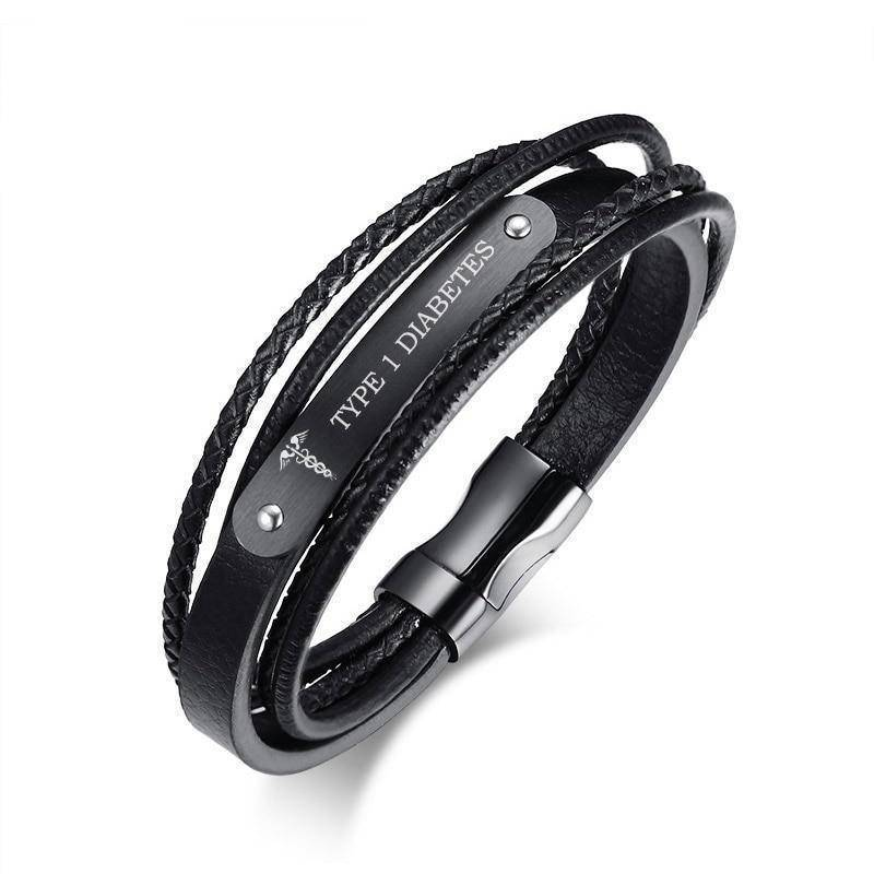 Mens Diabetic Medical Alert  ID Bracelet - Black, Genuine Leather, Braided Strands for Type 1 and Type 2 Diabetes