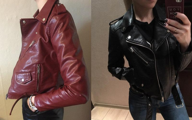 2018 Wine Red Faux Leather Jackets