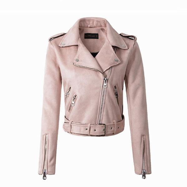 Down Colors Suede Faux Leather Jacket