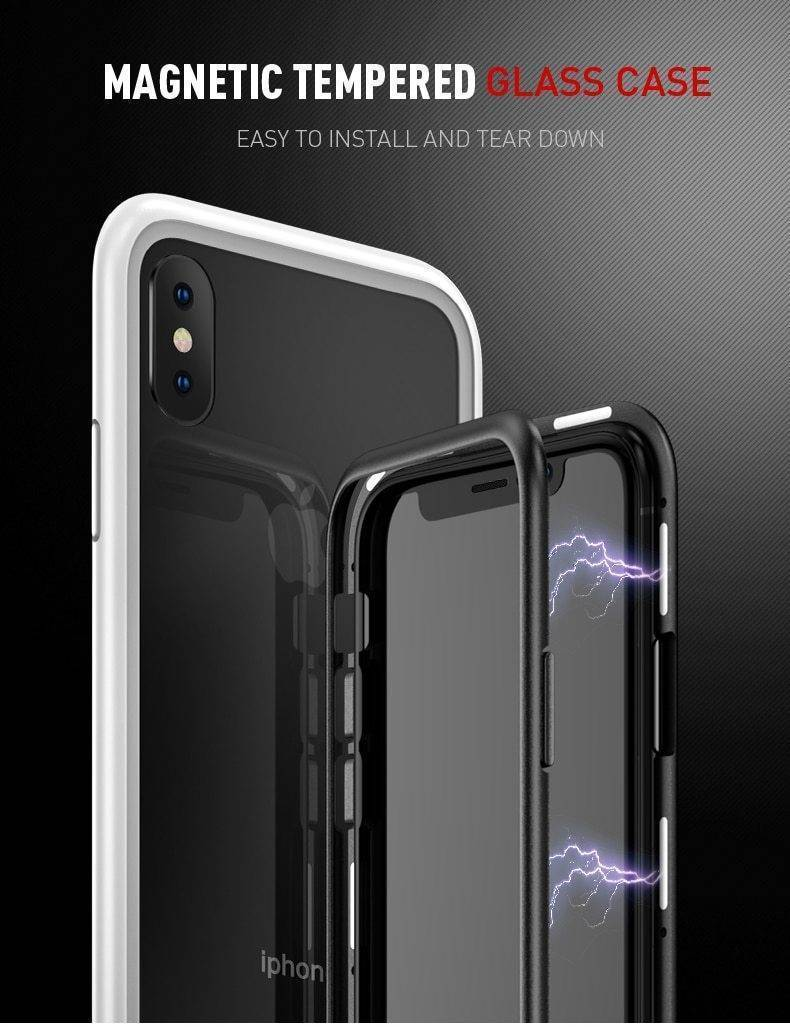 2019 New Magnetic Absorption Glass Cover Case for iPhone
