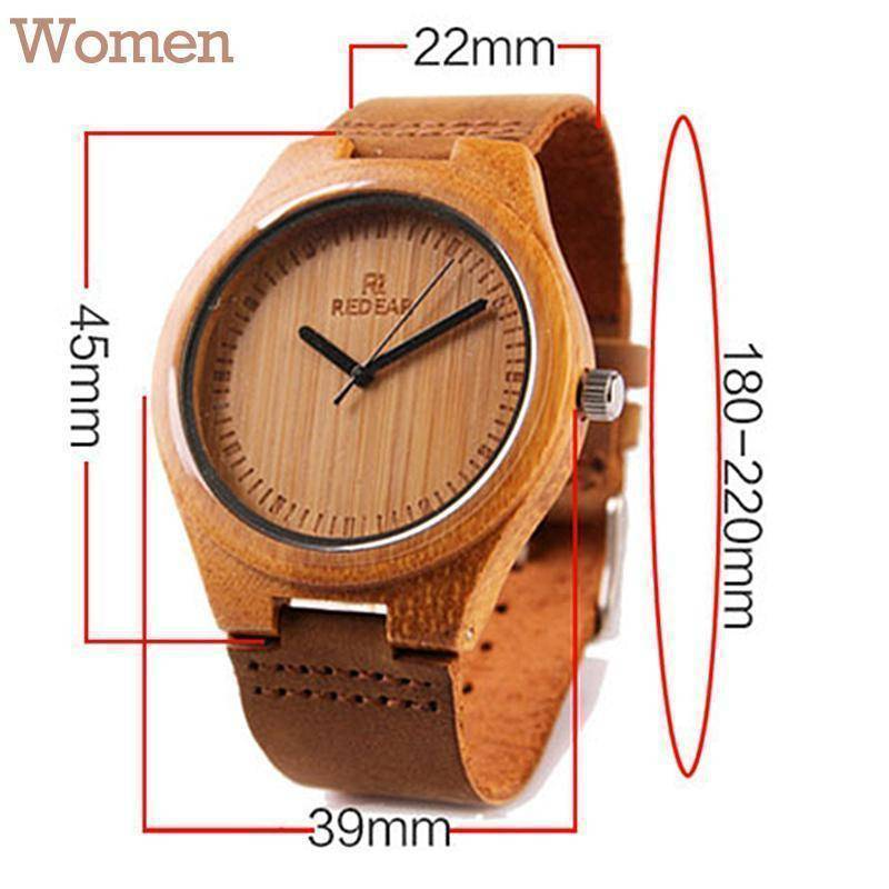 Wooden Womens and Mens Watch With Leather Band