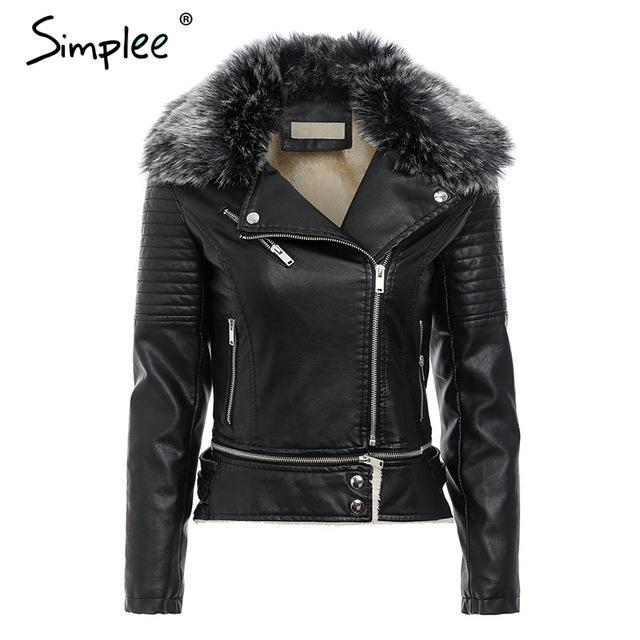 Fur Collar Leather Jacket