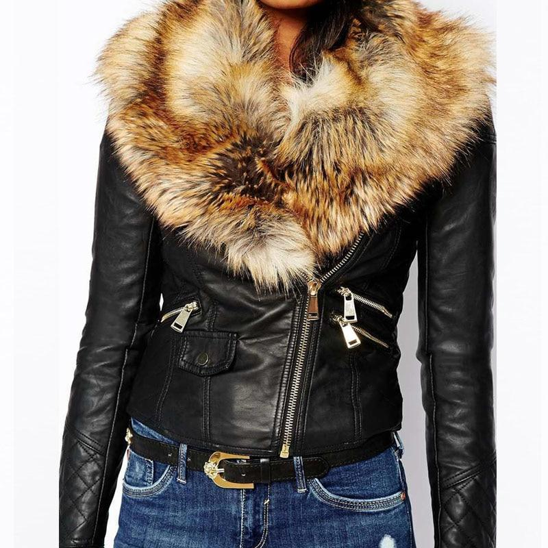 Hot PU Leather Jacket Coat with Faux Fox Fur Collar