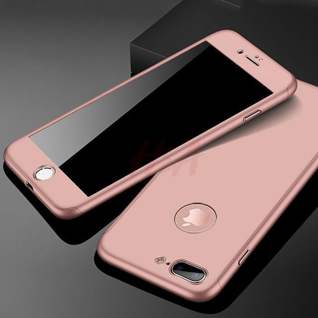 360 Full Protection Phone Case For iPhone With Front Glass Cover - 5 Colors