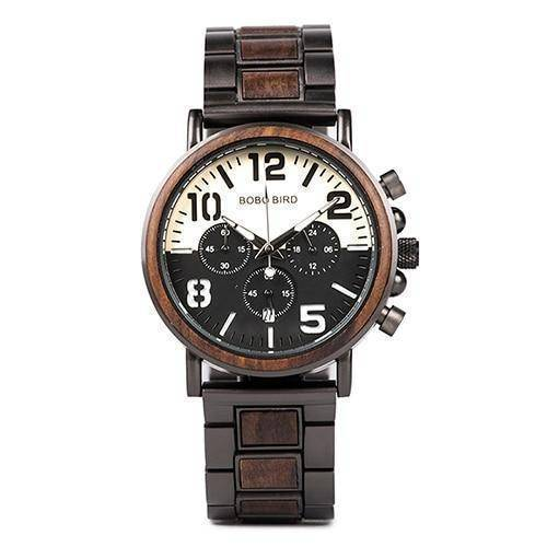 Wooden Stainless Steel Watch Mens Water Resistant Chronograph