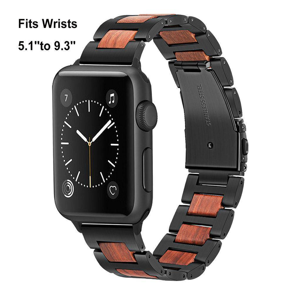 Natural Walnut Wood + Stainless Steel Wooden Watch Band for iWatch Apple Watch 38mm 40mm 42mm 44mm Series 1 2 3 4