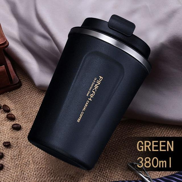 Stainless Steel Thermo Coffee Mug with Lid and Spoon