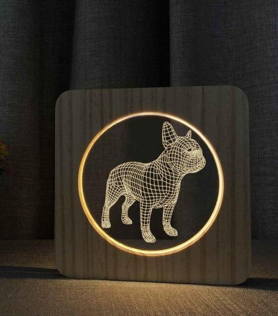 Wooden French Bulldog 3D LED Night Light