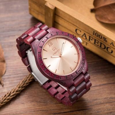 Men's Dress Wooden Wrist Watch Natural Calendar Display