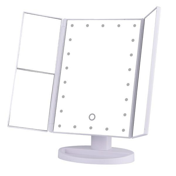 Touch Screen Folded Desktop Magnifying Mirrors with 22 LED Lights
